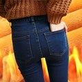 2016 Hot Venda de Moda de Nova Euramerican Cintura Alta Calça Jeans Elásticos fina Skinny Calças Lápis Sexy Slim Hip Calças Jeans Para mulheres