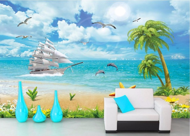 Custom mural 3d wallpaper dolphins coconut boat scenery for Dolphins paradise wall mural