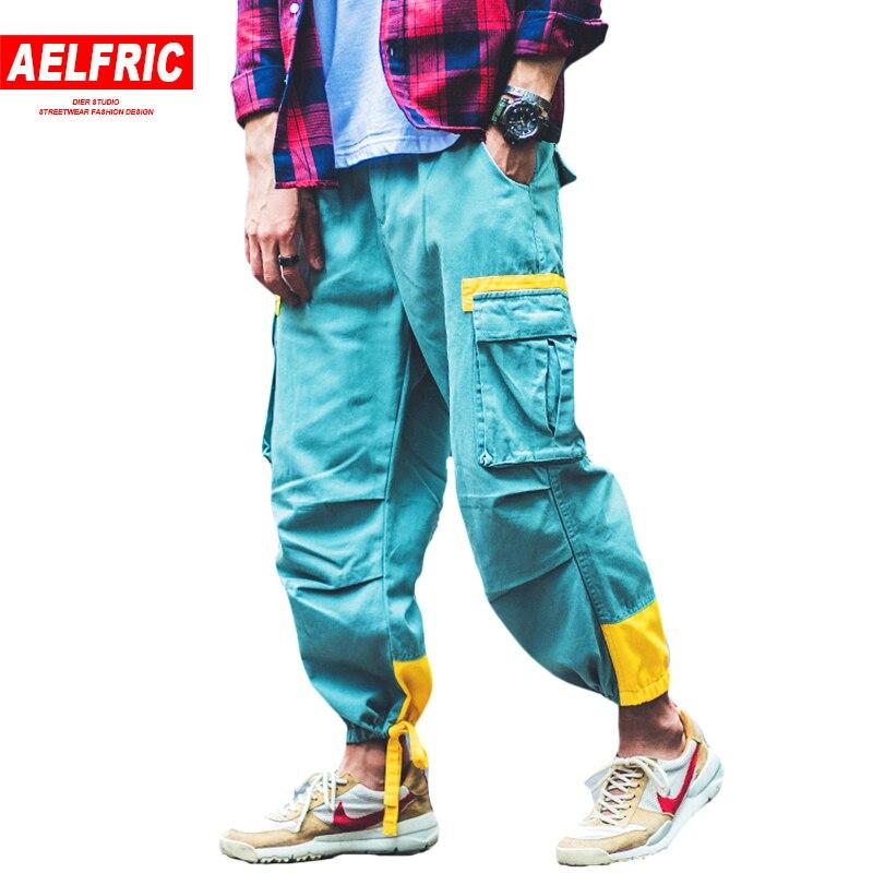 AELFRIC di Estate Degli Uomini di Autunno Pantaloni di Modo Dei Pantaloni Cargo Tasche Bende Piedi Casual Pantaloni Della Tuta Hip Hop Refurtiva Harem Pantaloni B033