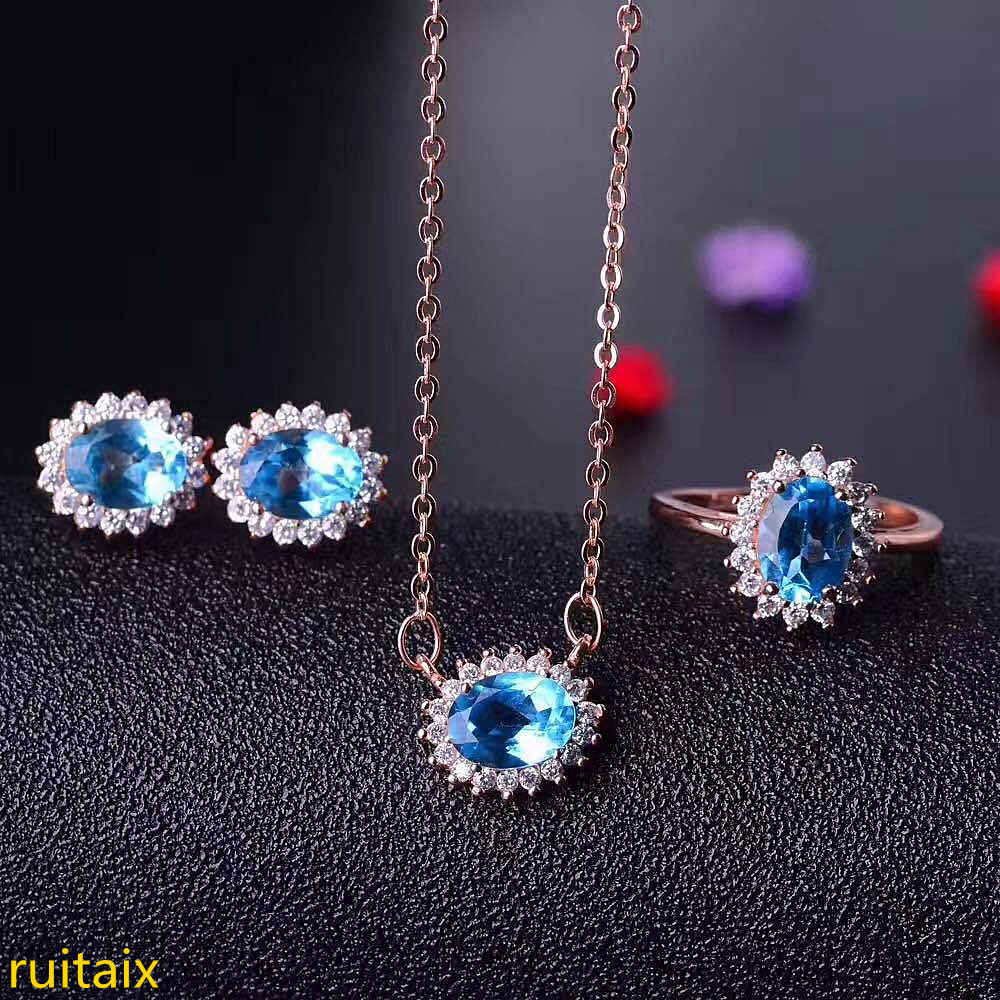 KJJEAXCMY boutique jewels 925 sterling silver inlaid with blue topaz ring + pendant + earrings necklace with silver gold color.