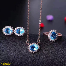 KJJEAXCMY boutique jewels 925 sterling silver inlaid with blue topaz ring + pendant + earrings necklace with silver gold color. gold pendant with topaz and cubic zirkonia