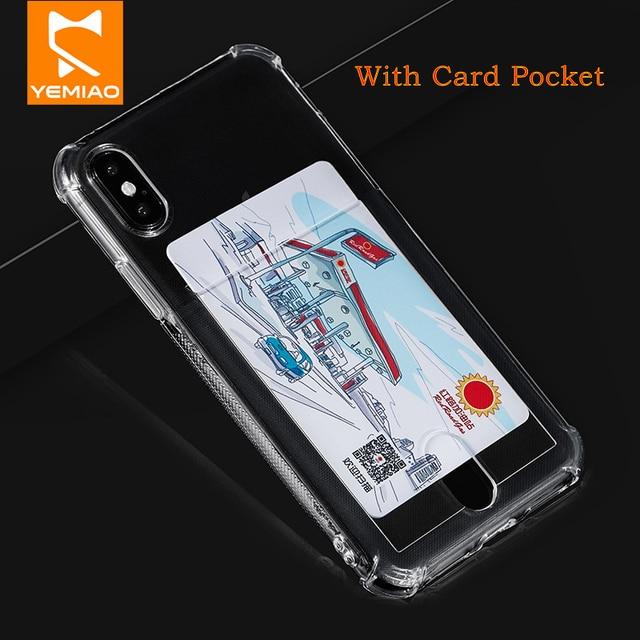 Caixa Do Telefone Do Silicone Para o iphone X 6 Mais XS Max Cartão de Bolso Capa Transparente Capa Para iPhone 7 6 S 8 Plus 10 XR Capa Airbag