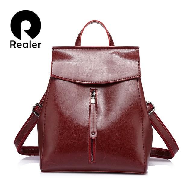 REALER women backpack high quality cow split leather backpacks ladies shoulder bags female school bag for teenage girl fashion
