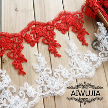 6Yds Delicate Red White Lace Trim Car Bone DIY Craft Sewing Fabric Garment Accessories Cloth Material Appliques