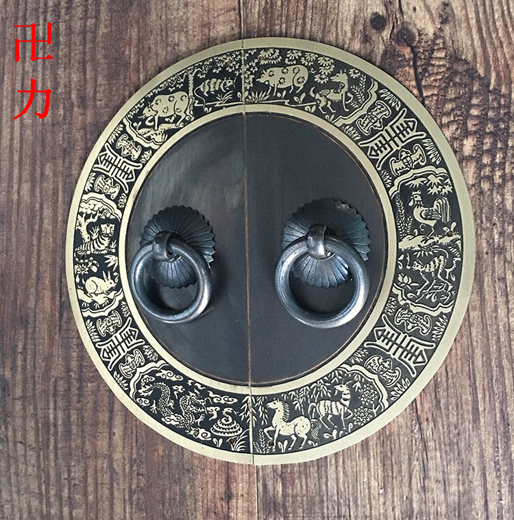 Exclusive Chinese antique furniture of Ming and Qing Dynasties copper fittings copper door wardrobe copper handle round house co ming and qing antique chinese furniture copper fittings door handle knocker large latch bolt big bolt locks