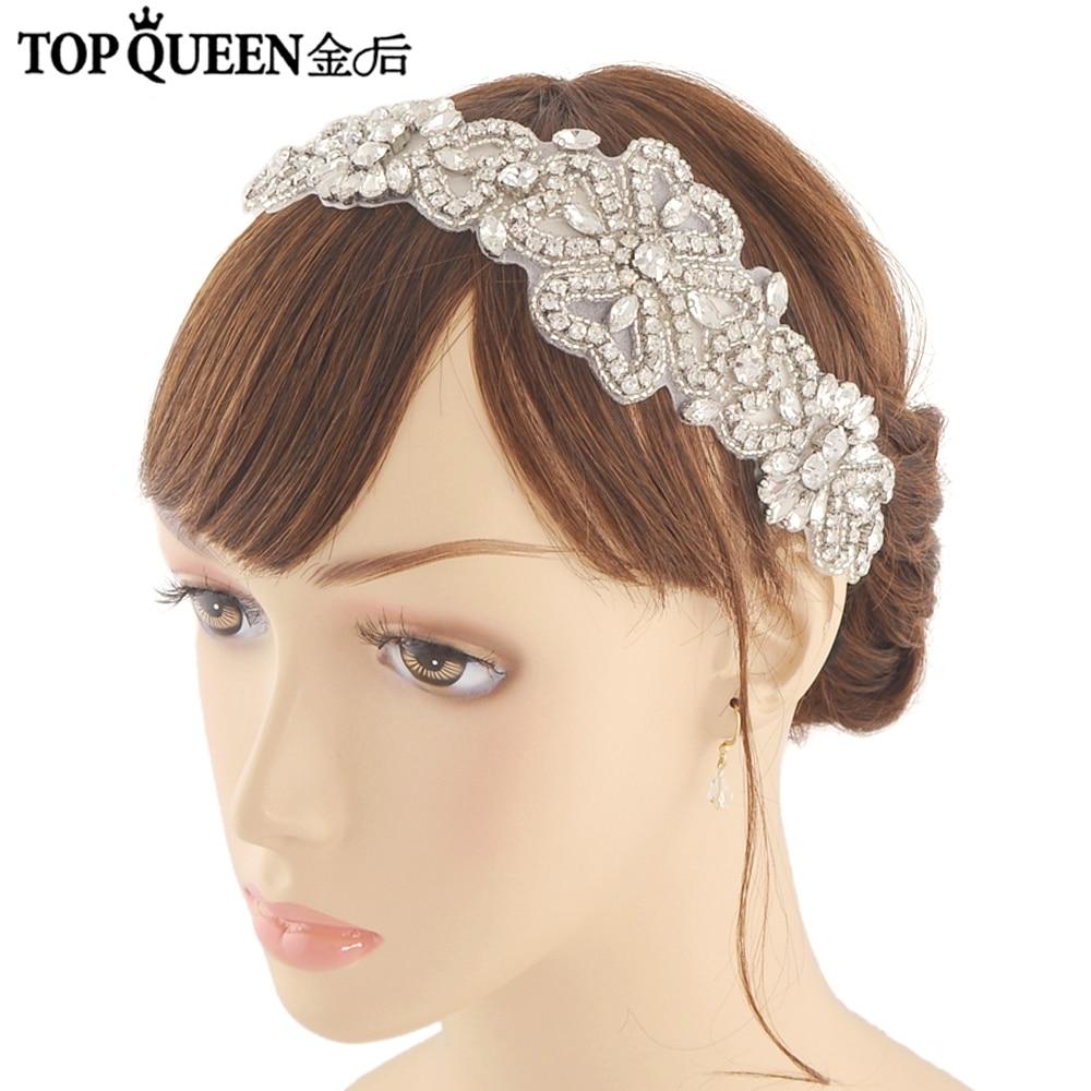 TOPQUEEN H168 Classical Bridal Hair Accessories Pearl Rhinestone Bridal Headbands For Wedding Satin Ribbon For Brides Headbands