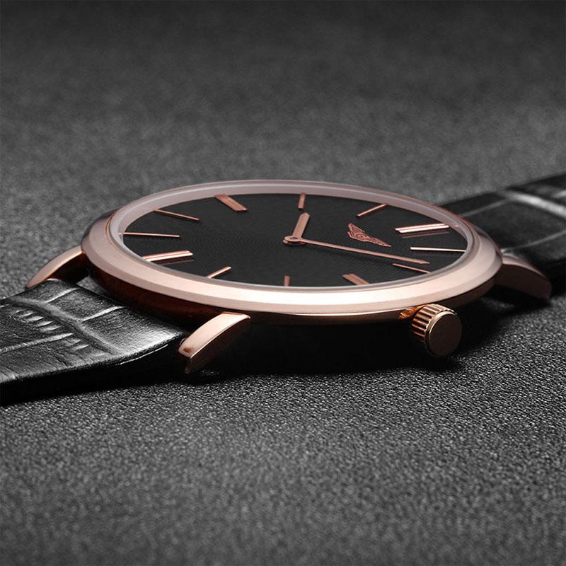 Prix pour Super Mince Mens Montre Mode Casual GUANQIN Marque Bracelet En Cuir Imperméable À L'eau de Quartz-montre Hommes Élégant Style Relojes Hombre 2016