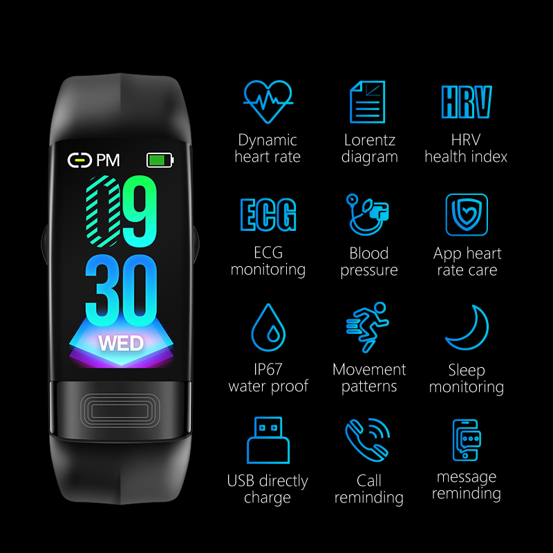 MKS Smartband Blood Pressure Smart Band Heart Rate Monitor PPG ECG Smart Bracelet Activity Fitness Tracker Electronics Wristband