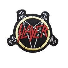 Slayerロックバンド重金属ロゴ音楽刺繍アイアンでパッチバッジ
