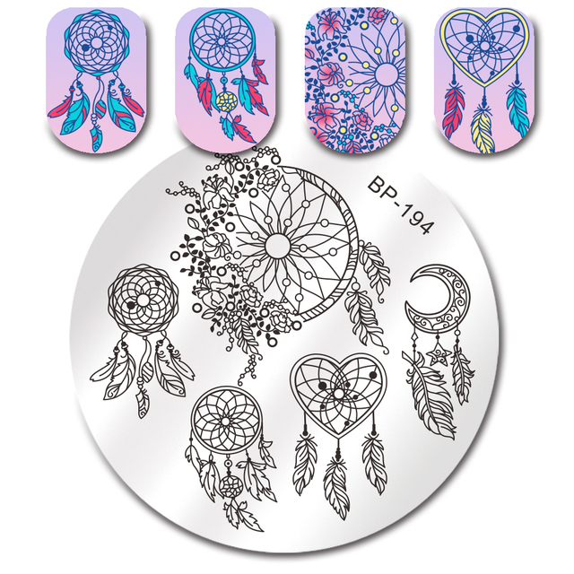 Born Pretty Round Stamping Plate Dream Catcher Feather Heart Ballet