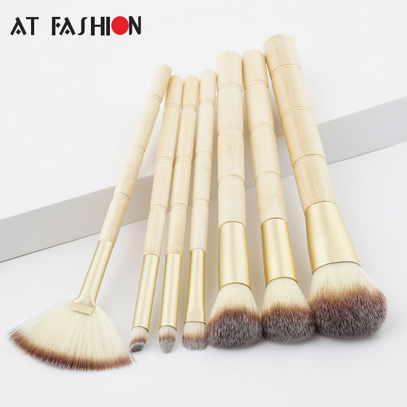 New Professional 7pcs Bamboo Makeup Brushes Foundation Eyeshadow Concealer Eyeliner Brush Set Cosmetic Kwasten Make Up Tool Kit new lcbox professional 16 pcs makeup brush set kit pouch bag cosmetic brush kit cosmetic powder foundation eyeshadow brush tools