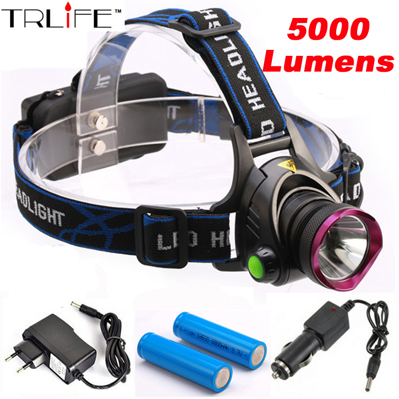 5000 Lumens LED Headlamp CREE XM-L T6 LED Headlight Fishing Light Head Lamp Light + 2*18650 Battery + Charger + Car Charger led headlamp cree xm l t6 led 2000lm rechargeable head lamps headlights lamp lights use 18650 battery ac charger head light