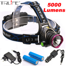 5000 Lumens LED Headlamp CREE XM-L T6 LED  Headlight  Fishing Light Head Lamp Light + 2*18650 Battery + Charger + Car Charger