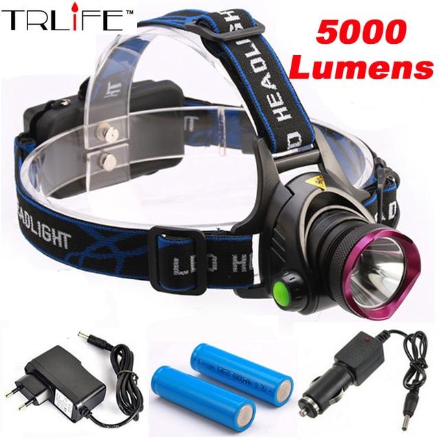 5000 Lumens LED Headlamp CREE XM-L T6 LED  Headlight  Fishing Light Head Lamp Light + 2*18650 Battery + Charger + Car Charger