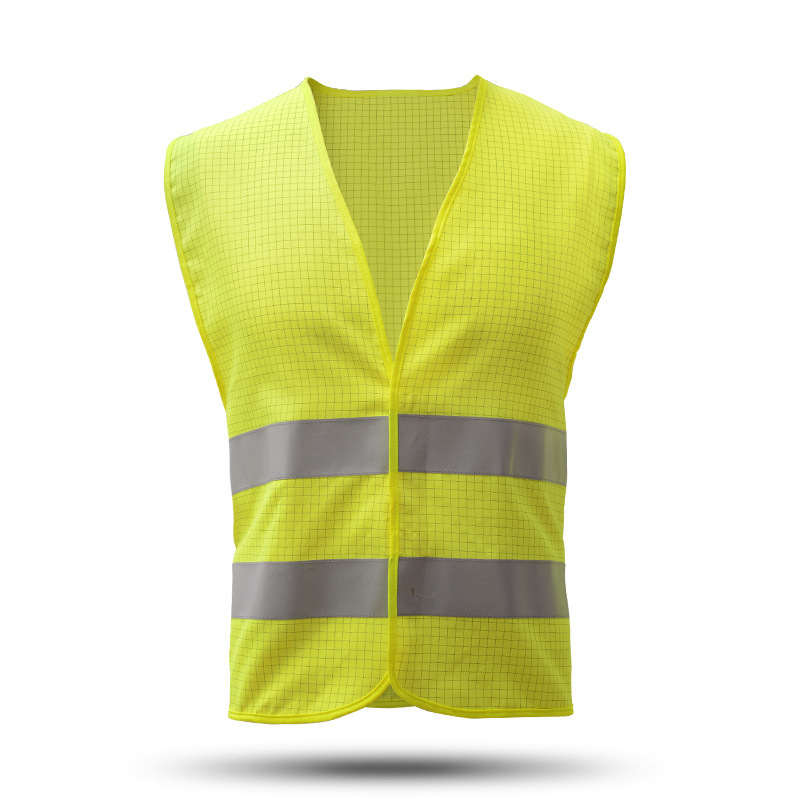 Reflective Vest Antistatic Clothing Gas Station Factory Work Safety Clothes Breathable Grid Tops Vest Static resistance Workwear 4 colors 2016 summer unisex popular breathable work clothing short sleeve workwear absorbent comfortable clothes for factory