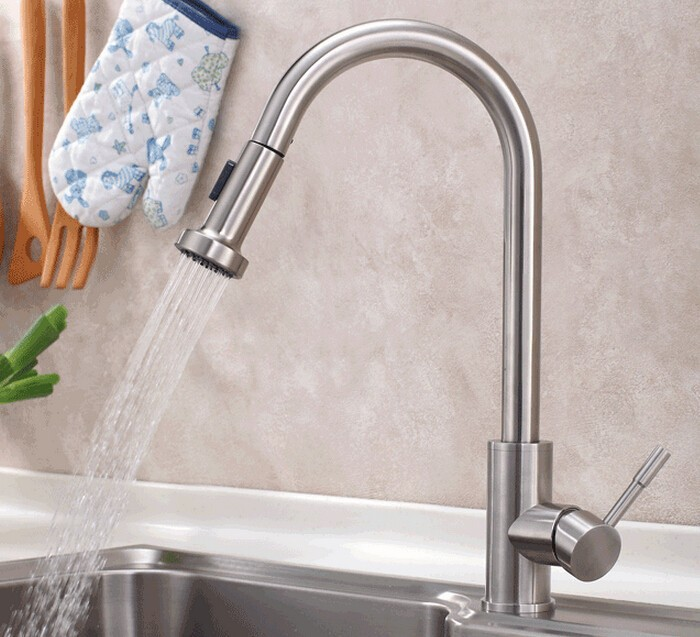 Free shipping Swivel 304 Stainless Steel lead-free hot and cold water sink kitchen faucet Pull-Out Spray Kitchen Faucet 315-A free shipping stainless steel folding lead free kitchen mixer tap sink faucet wall mounted hole hot and cold water kf785