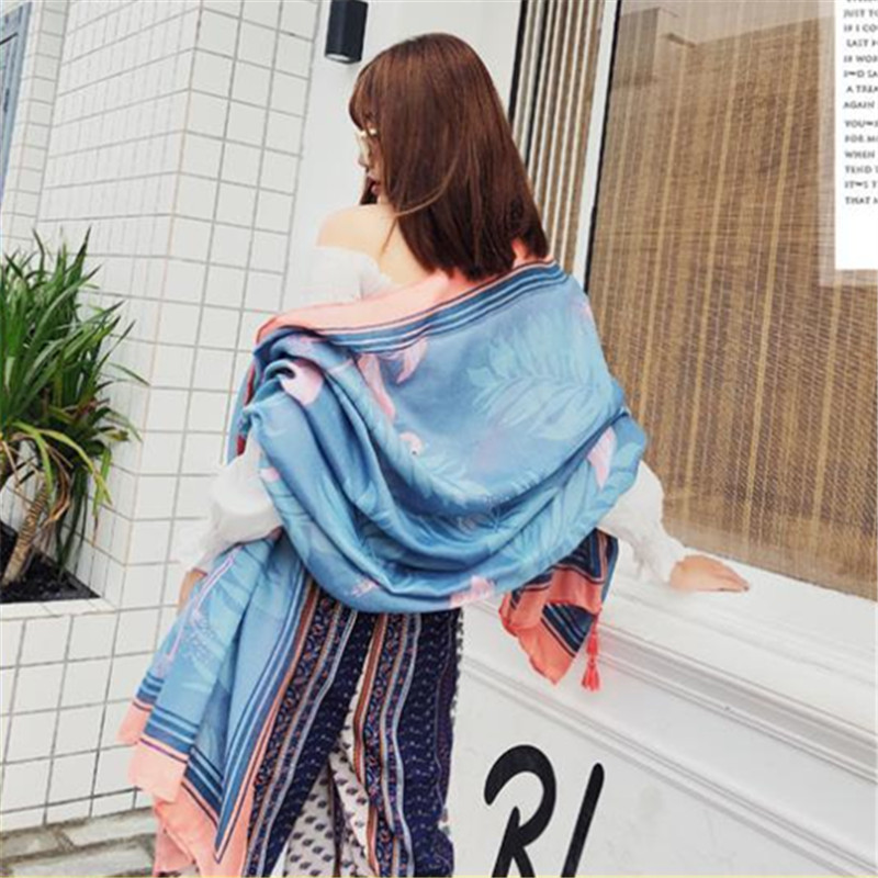 LEAYH Female Fashion Birds Print Scarf Shawls Summer Office Air Conditioned Large Beach Towels 180 90cm Women Head Wraps in Women 39 s Scarves from Apparel Accessories