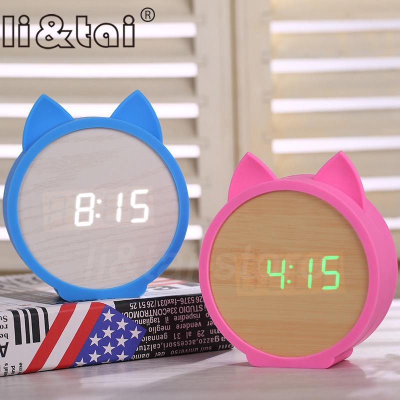 Kid 39 s clock Cute Cat Silicone Electronic Wooden table clock LED Wooden Alarm Clocks Cartoon Calendar Perfection Voice Control in Alarm Clocks from Home amp Garden