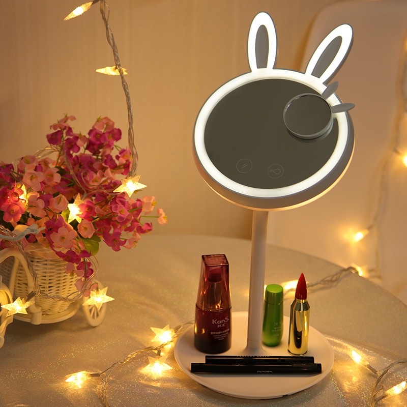 Adorable pet rabbit led makeup mirror Lamps for Bedroom Daylight LED table lamp USB rechargeable Light led adorable pet makeup mirror table
