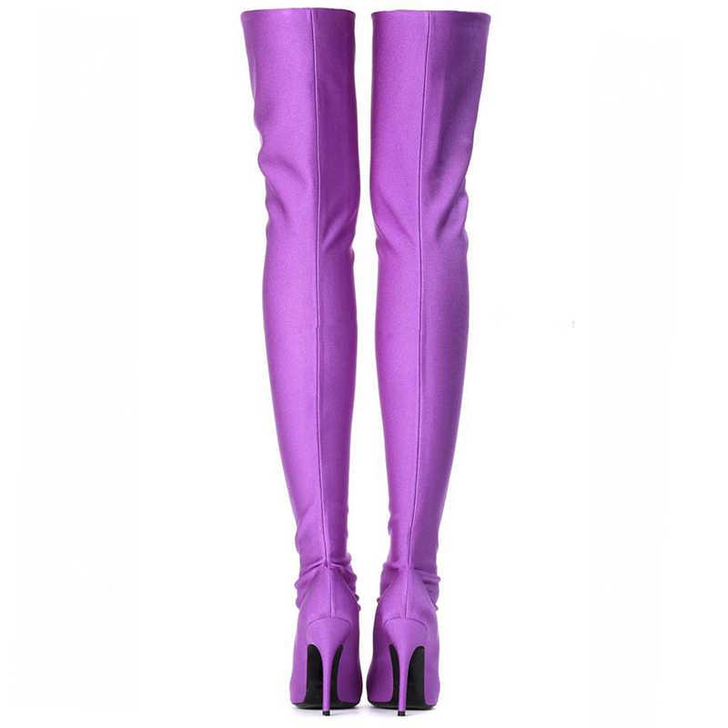 DoraTasia marque design grande taille 48 sur les bottes au genou mince talons hauts chaussures femme sexy bout pointu chaussures de fête femmes bottes