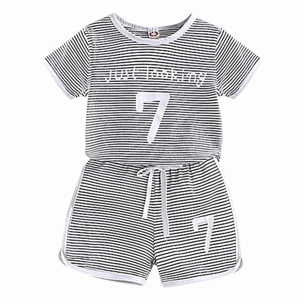 Kids Baby Boys Girls Active Summer Casual Striped Cotton Short Sleeve Shorts Pants Suit 2 pcs Sports Style