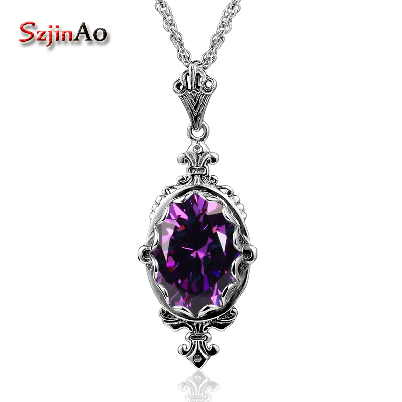 Szjinao Solid 925 Sterling Silver Pendants Factory Handmade Sporty Antique Amethyst Necklace Pendants For Women Bijouterie все цены