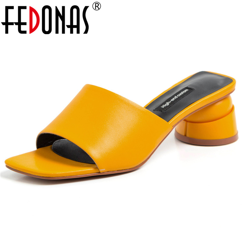 FEDONAS Top Quality Fashion Concise White Yellow Genuine Leather Women Sandals Slip On Elegant Strange Style Casual Shoes Woman