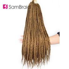 SAMBRAID Box warkocze szydełkowane syntetyczne warkoczyki z włosów 18 Cal 12 korzenie szydełkowe włosy rozszerzenia miękkie skręt spinki do włosów dla kobiet