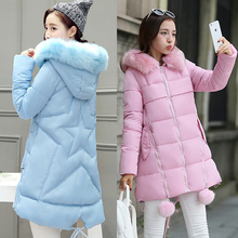 2017 Spring and winter students loose cotton coat Pentax sta female 15-20 years old 30 long section of wool collar down jacket