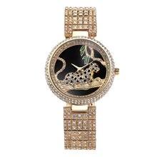 2017 New Fashion Silver Top Luxury Watches High Quality Women Rhinestone Crystal Quartz Lady Leopard Dress Wristwatches