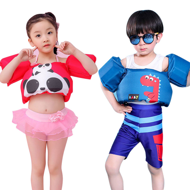 Hot Sale! Cute Baby Arm Ring Save Vest Swimwear Cartoon Pattern 2-8Y Boy&Girl Swimsuit Kid Children Foam Safety Swimming Suit