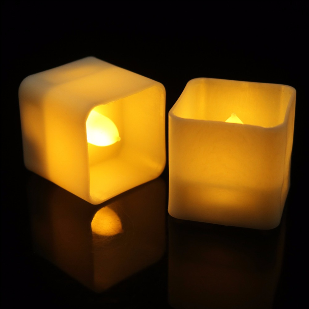 Home & Garden Flickering Tealights 12 Pieces With Square Cup Shape,electric Realistic Flameless Candles,amber Or Warm White Battery Candles