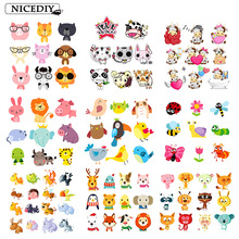 Nicediy Cute Animal Patches Iron on Transfers For Clothes T-Shirt Heat Applique Children Clothing Stickers Cartoon Cow Patch DIY