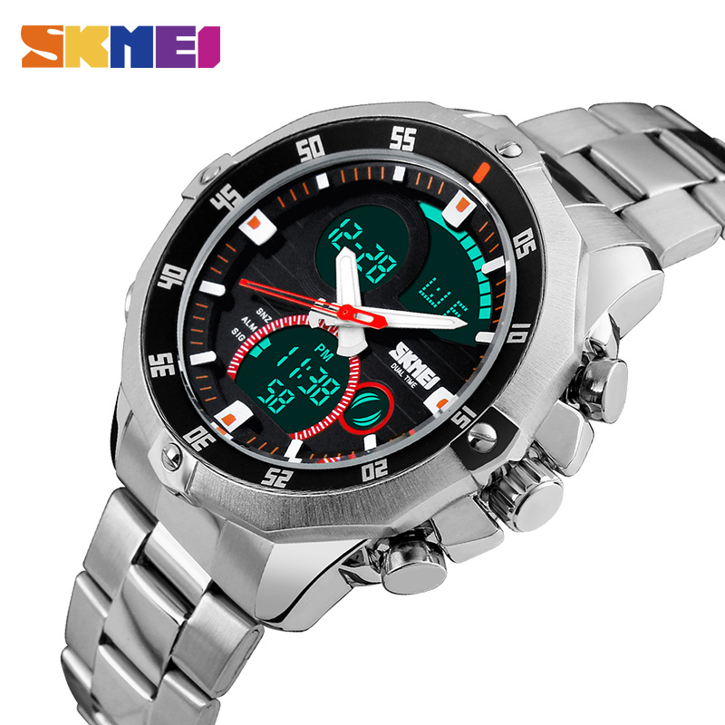 SKMEI Luxury Brand Men Digital Quartz Stainless Watch Military Sports Watches Waterproof Wristwatch Relogio Masculino