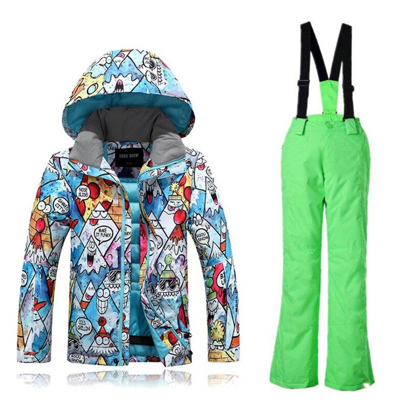 Gsou снег для мальчиков и девочек лыжные костюмы теплые Водонепроницаемый детей Лыжный Спорт Сноубординг куртки + брюки детская зимняя детск