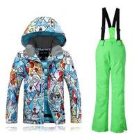 Gsou Snow Boys Girls Ski Suits Warm Waterproof Children Skiing Snowboarding Jackets + Pants Winter Kids Child Ski Clothing Set