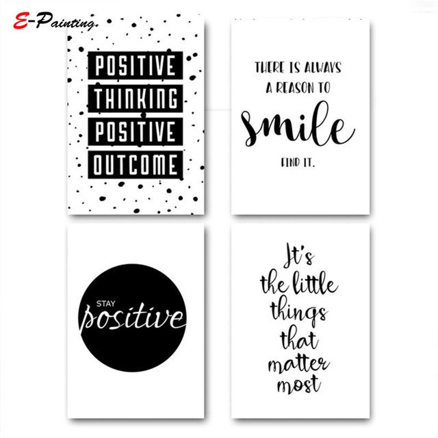 Modern Wall Art Canvas Painting Smile Simple Quote Motivational Poster Prints Black White Education Picture Living Room Decor