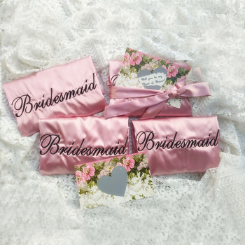 Free Shipping 4 pcs lot Embroidery Logo wedding Hen bachelorette party Gifts Silk Satin kimono bridal Bridesmaid robes