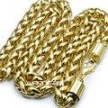 18 K 18CT Gold Filled hombres Tejida 60 cm Longitud Pesado Collar de Cadena N49