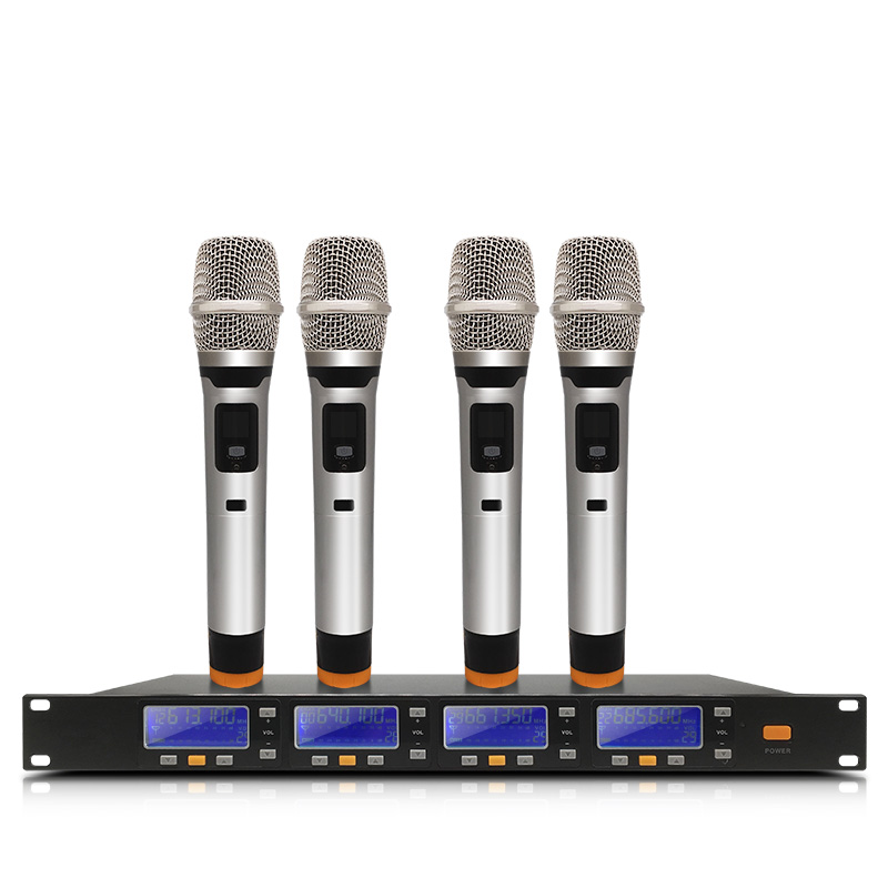 New High Quality Professiona W-519 4 Handheld UHF Frequencies Dynamic Capsule 4 channels Wireless Microphone for Karaoke System lomeho lo v06 dual handheld vhf frequencies dynamic capsule 2 channels wireless microphone for karaoke system