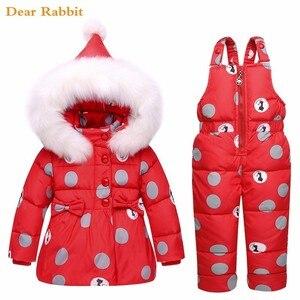 Image 3 - 2020新冬子供服セット暖かいパーカーダウンジャケット女の赤ちゃんの服子供のコートの雪の摩耗子供スーツ