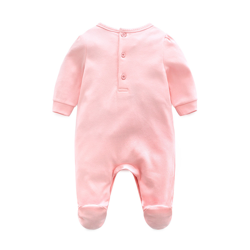 Image 2 - 2019 Princess Newborn Baby Girl Clothes Lace Flowers Footies Jumpsuit with Headband 2 Piece Girls Clothing Set  0 3 6 9 monthsRompers   -