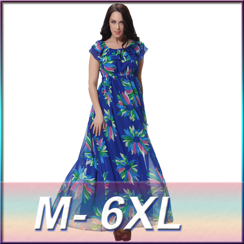 Summer Style Womens Floral Print Long Chiffon Dresses Plus Size 6xl