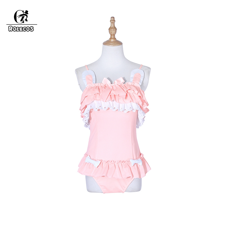 ROLECOS Sweet Rabbit Swimsuit Lolita Cosplay Costumes Black Cat Costumes Pink Rabbit One-piece Swimwear Cute Swimsuit