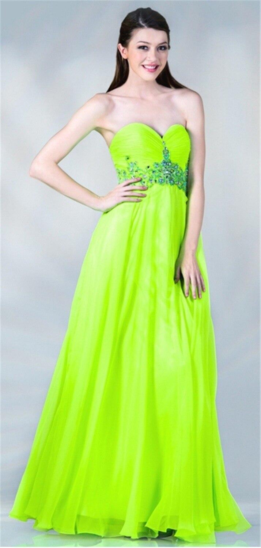 2015 New Chiffon Dress Bright Green Evening Dresses Women ...