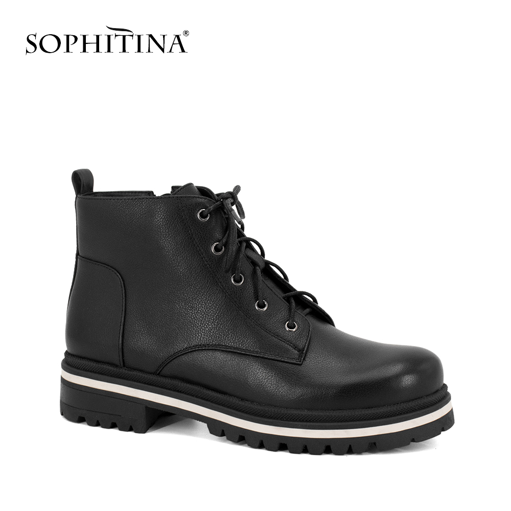 SOPHITINA Hot Sale Brand Woman Motorcycle Boots High Quality Genuine Leather Shoes Retro Round Toe Ankle Strap Warm Shoes M52SOPHITINA Hot Sale Brand Woman Motorcycle Boots High Quality Genuine Leather Shoes Retro Round Toe Ankle Strap Warm Shoes M52