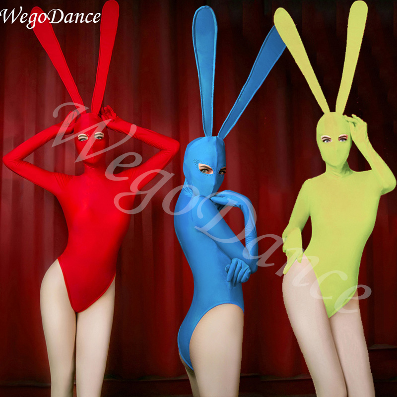Jazz Dance Costumes Women Bunny Girl Bodysuit Costume Sexy Singer Female Dj Ds Gogo Birthday Stage Outfits Show Clothes