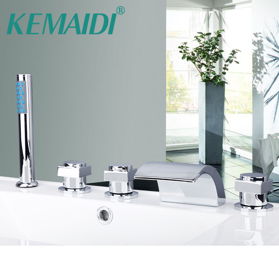 KEMAIDI 5 pcs Waterfall Bathtub Shower Faucet Set Chrome Finish 3 Handles Deck Mount Waterfall Basin Faucet Mixer Water Tap