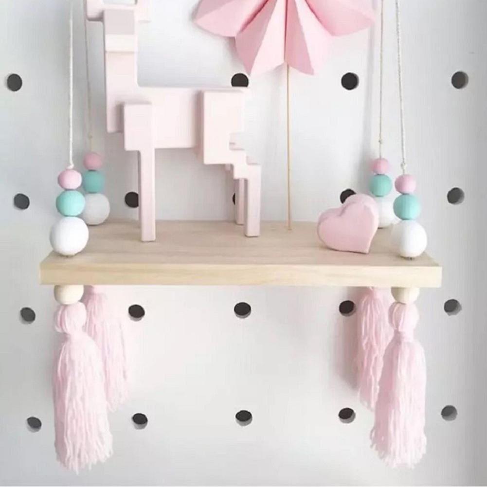 CHUWUJU Macarons Wooden Bead Plywood Shelf Solid Wood Childrens Room Dolls Storage Display Rack INS Nordic Style