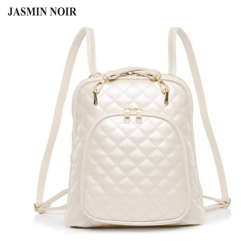 Fashion women's shoulder bag Quilted beige leather back pack college brand laptop Backpack female school bags for teenage girls augur 2018 brand men backpack waterproof 15inch laptop back teenage college dayback larger capacity travel bag pack for male